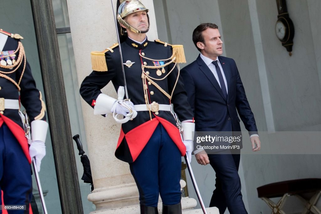 French President Emmanuel Macron (R) welcomes Prime Minister of Denmark Lars Lokke Rasmussen (not pictured) for a meeting at the Elysee Palace on June 7, 2017 in Paris, France.