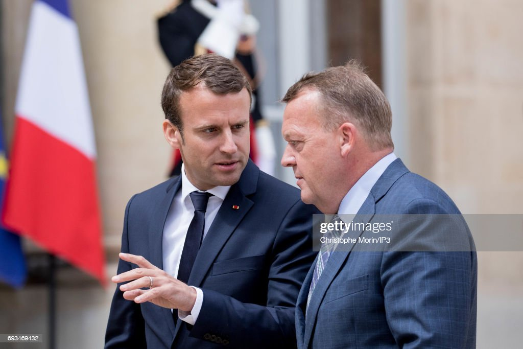 French President Emmanuel Macron (L) welcomes Prime Minister of Denmark Lars Lokke Rasmussen (R) for a meeting at the Elysee Palace on June 7, 2017 in Paris, France.