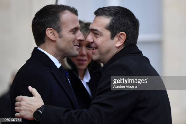 French President Emmanuel Macron welcomes Prime Minister of Greece Alexis Tsipras for the commemoration of the 100th anniversary of the end of WWI at...