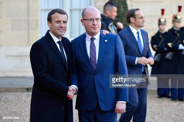 French President Emmanuel Macron welcomes Prime Minister of the Czech Republic Bohuslav Sobotka as he arrives for a meeting for the One Planet...