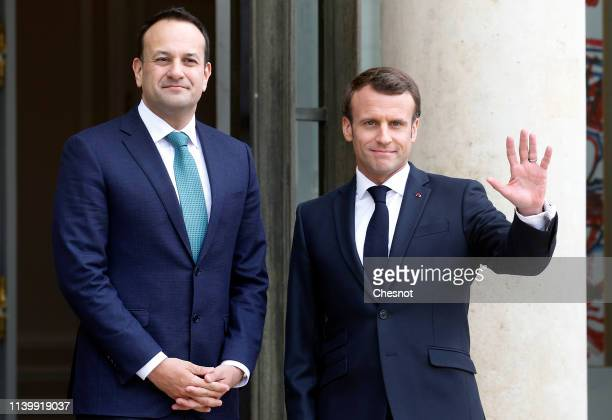 French President Emmanuel Macron welcomes Prime Minister of the Republic of Ireland Leo Varadkar prior to their meeting at the Elysee Presidential...