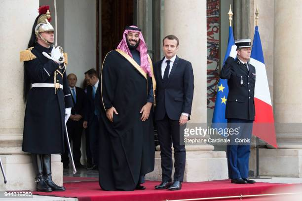 French President Emmanuel Macron welcomes Saudi Arabia's Crown Prince Mohammed bin Salman at Elysee Palace on April 10 2018 in Paris France Crown...