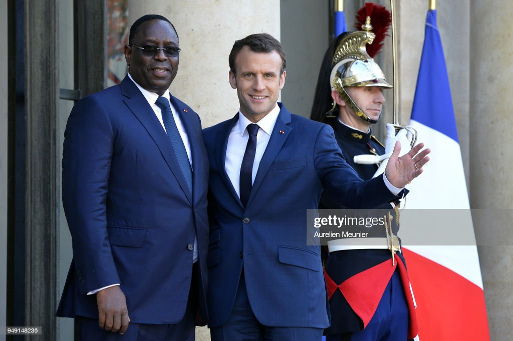 French President Emmanuel Macron welcomes Senegal President Macky Sall for a meeting at Elysee Palace on April 20, 2018 in Paris, France. Senegal President Macky Sall will talk about education and erosion in Senegal.