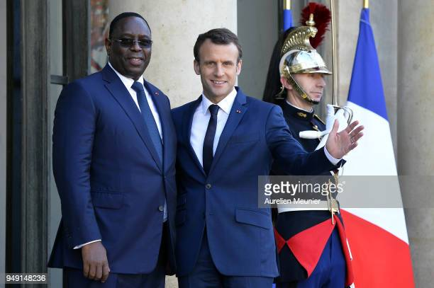 French President Emmanuel Macron welcomes Senegal President Macky Sall for a meeting at Elysee Palace on April 20 2018 in Paris France Senegal...