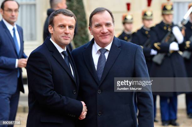 French President Emmanuel Macron welcomes Swedish Prime Minister Stefan Lofven as he arrives for a meeting for the One Planet Summit's international...