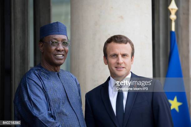 French President Emmanuel Macron welcomes Tchad's President Idriss Deby Itno at the Elysee Palace on August 28 2017 in Paris France This meeting...