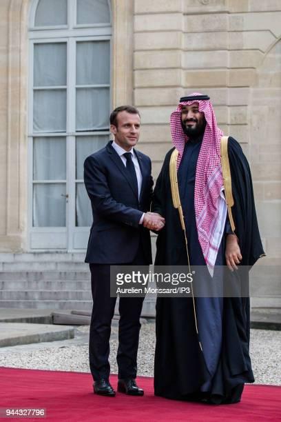 French President Emmanuel Macron welcomes the Crown Prince of Saudi Arabia Mohammed Bin Salman Bin Abdulaziz Al Saoud at Elysee Palace on April 10...