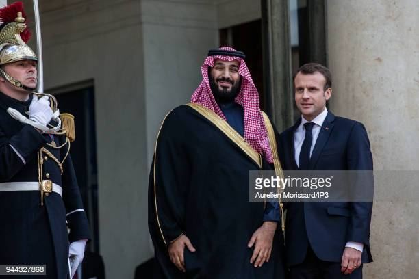 French President Emmanuel Macron welcomes the Crown Prince of Saudi Arabia Mohammed Bin Salman Bin Abdulaziz Al Saoud at Elysee Palace on April 10...