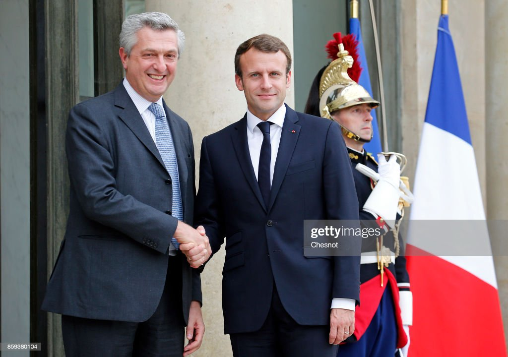 French President Emmanuel Macron Receives United Nations High Commissioner For Refugees Italian Filippo Grandi At Elysee Palace In Paris