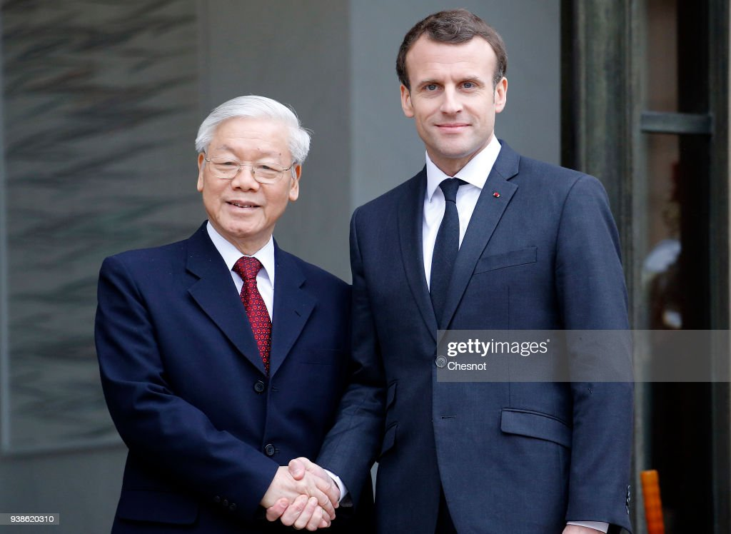 French President Emmanuel Macron Receives Nguyen Phu Trong, Nguyen Phu Trong At Elysee Palace In Paris