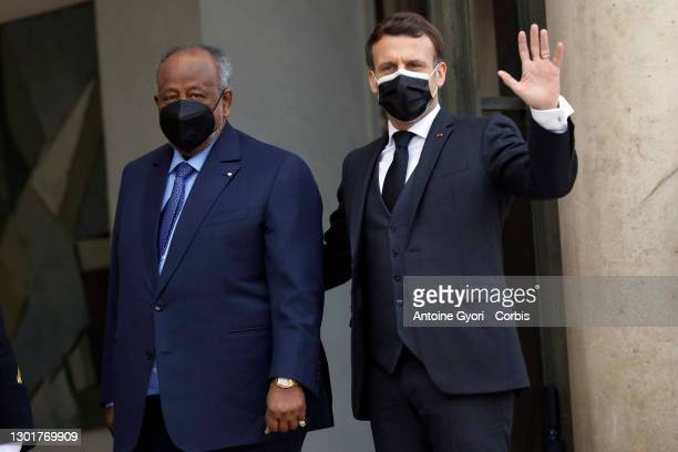 French President, Emmanuel Macron wellcome Djibouti's President Ismail Omar Guelleh during an official visit at the Elysee Presidential Palace on...