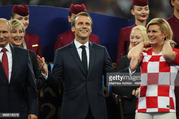French president Emmanuel Macron with Croatia president Kolinda GrabarKitarovic during the 2018 FIFA World Cup Russia Final between France and...
