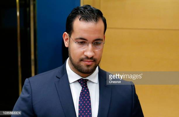 French President Emmanuel Macron's former security officer Alexandre Benalla attends a hearing by senators at the French senate on September 19 2018...