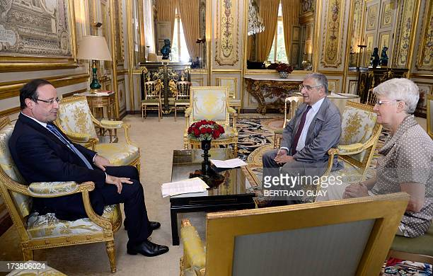 French president Francois Hllande holds a meeting with French doctors Xavier Emmanuelli Xavier Emmanuelli , founder of the SAMU social and Suzanne...
