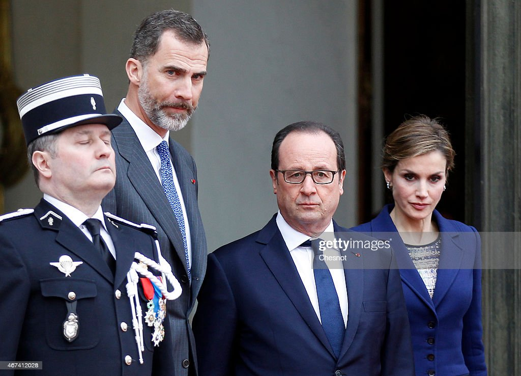 French President Francois Hollande accompanies Spain's King Felipe VI and Queen Letizia after their meeting at the Elysee Palace on March 24, 2015 in Paris, France. King Felipe VI and Queen Letizia of Spain have decided to cut short their scheduled two-day state visit in France after a Germanwings Airbus A320 plane crashed in the French Alps, as it travelled from Barcelona to Duesseldorf.