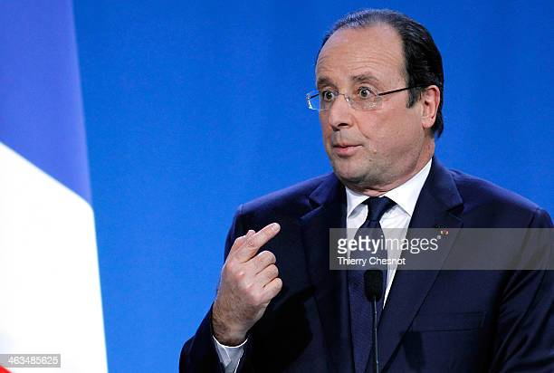 French President Francois Hollande addresses his new year wishes to the French department of Correze on January 18 2014 in Tulle France Francois...