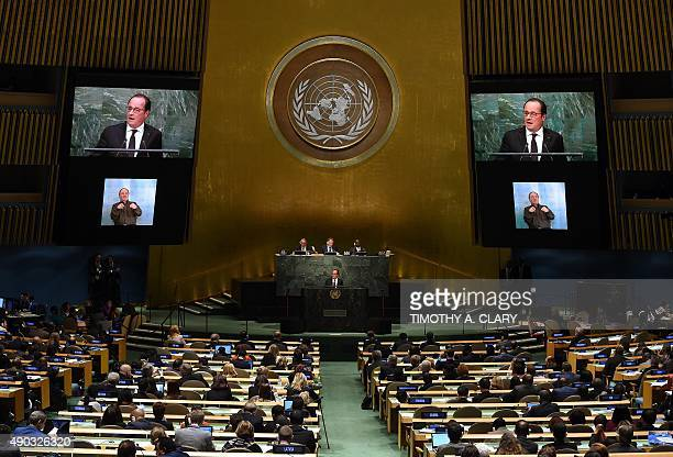 French President Francois Hollande addresses the United Nations Sustainable Development Summit at the United Nations General Assembly in New York...