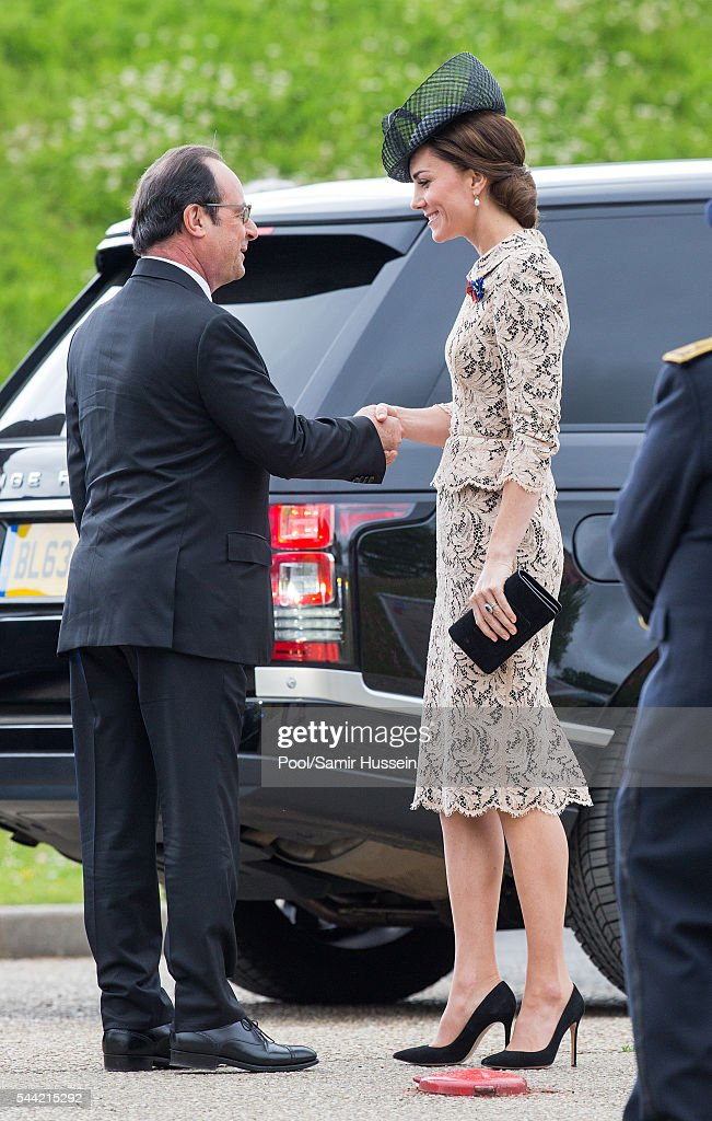 French President Francois Hollande and Catherine, Duchess of Cambridge attend the commemoration of the Battle of the Somme at the Commonwealth War Graves Commission Thiepval Memorial on July 1, 2016 in Thiepval, France.
