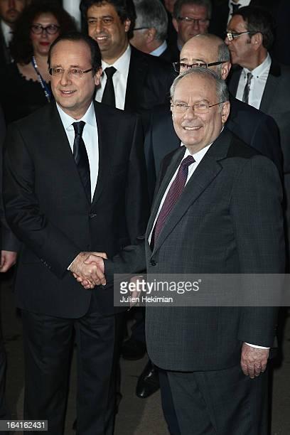 French President Francois Hollande and CRIF's President Richard Prasquier attend the 28th Dinner of 'Conseil Rrepresentatif Des Institutions Juives...