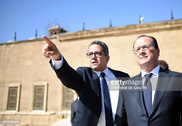 French President Francois Hollande and Egypt's Antiquities Minister Khaled alAnani visit the Mohamed Ali Mosque at the Citadelle in Cairo on April 18...