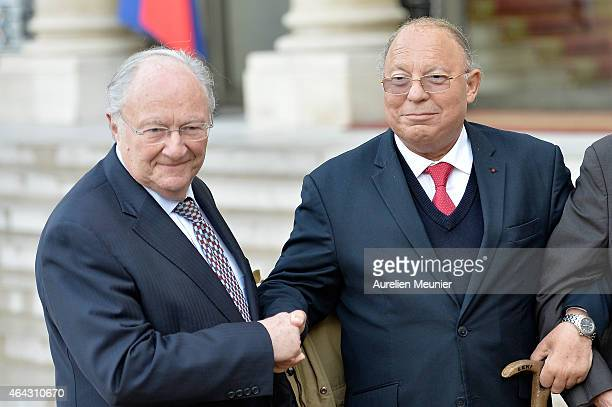 French President Francois Hollande and French Interior Minister Bernard Cazeneuve receives Roger Cukierman President of the CRIF Representative...