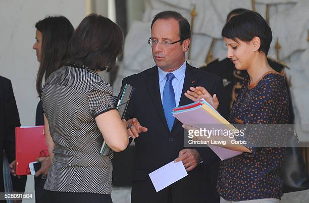 French President, Francois Hollande and French minister of Women's Rights, Najat Vallaud-Belkacem and Junior Minister for Disabled People...