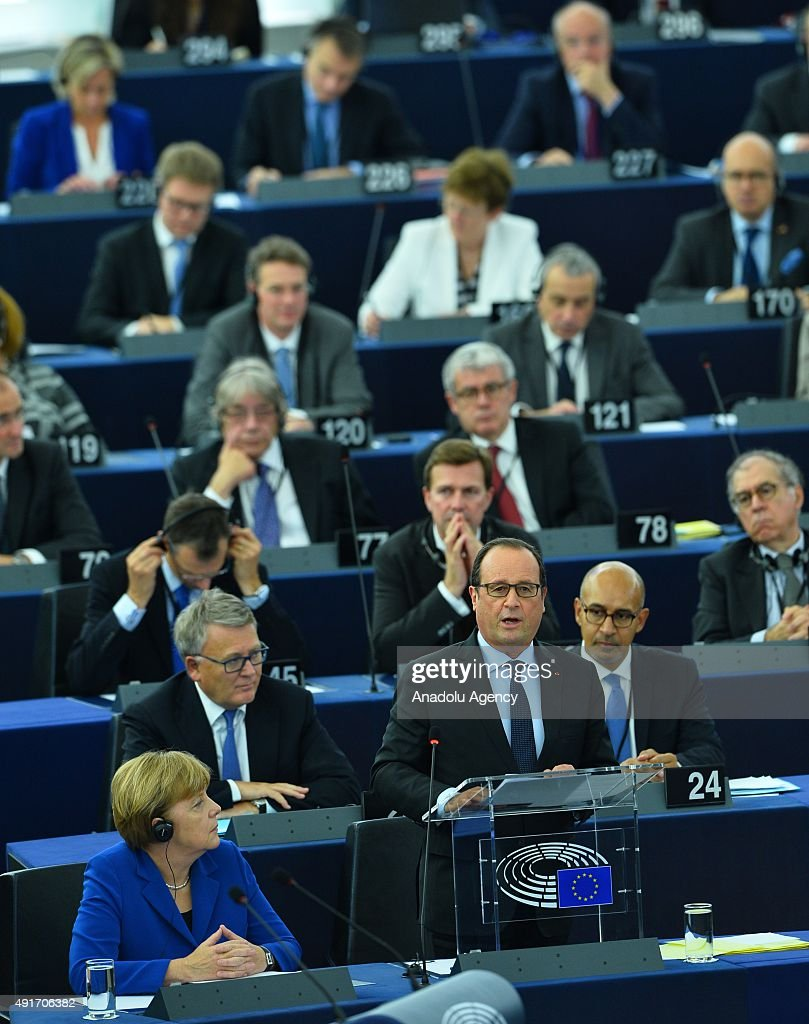 Merkel and Hollande at the European Parliament in Strasbourg : News Photo