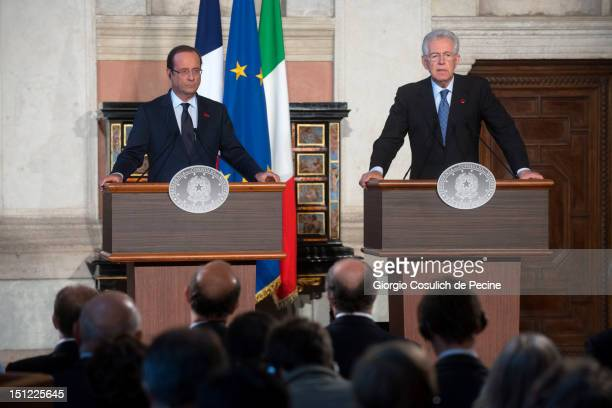 French President Francois Hollande and Italian Prime Minister Mario Monti attend a press conference at Villa Madama on September 4, 2012 in Rome,...