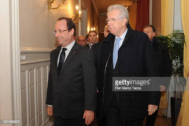 French President Francois Hollande and Italian Prime Minister Mario Monti attend the French Italian Summit at the Prefecture Building on December 3...