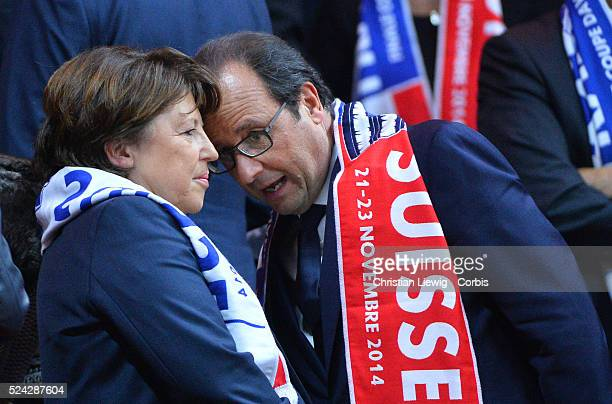 French President Francois Hollande and Lille's Mayor Martine Aubry attending the Final of the Davis Cup 2014 in the Stadium Pierre Mauroy Villeneuve...
