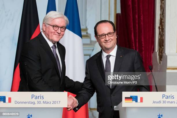 French President Francois Hollande and President of the Federal Republic of Germany Frank Walter Steinmeier hold a press conference after their lunch...