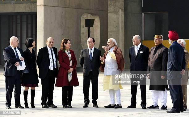 French President Francois Hollande and Prime Minister Narendra Modi flanked with Haryana CM Manohar Lal Punjab Haryana Governor Kaptan Singh Solanki...