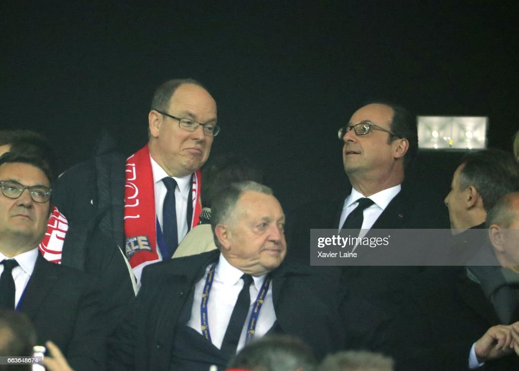 French president Francois Hollande and Prince Albert II of Monaco attend the French League Cup Final match between Paris Saint-Germain and AS Monaco at Parc Olympique on Japril 01, 2017 in Lyon, France.