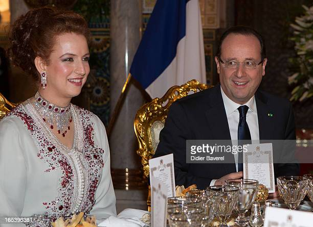 French President Francois Hollande and Princess Lalla Salma attend the State diner at the King's Palace on April 3 2013 in Casablanca Morocco