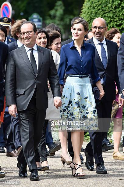 French President Francois Hollande and Queen Letizia of Spain arrive to attend the Velasquez painting exhibition at the Grand Palais on June 2 2015...