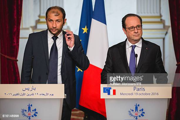 French President Francois Hollande and Rahed Al Saleh President of 'Casques blancs' a group of volunteer medical operating in rebel areas in Syria...