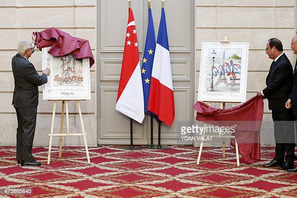 French President Francois Hollande and Singapore President Tony Tan Keng Yam unveil enlargements of new stamps after a contract signing ceremony at...