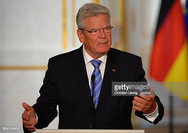 French President Francois Hollande arrives to meet German President Joachim Gauck at the Elysee Palace in Paris Tuesday Sept 3 2013 Gauckand is on a...