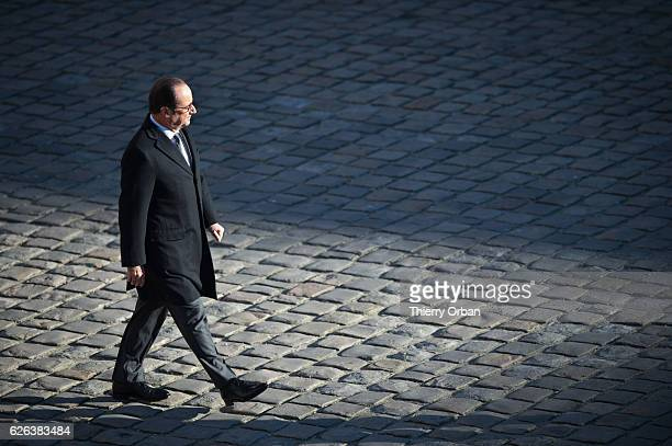 French President Francois Hollande Attends a military review At Hotel des Invalides in Paris, France. Francois Hollande must announce in the next few...