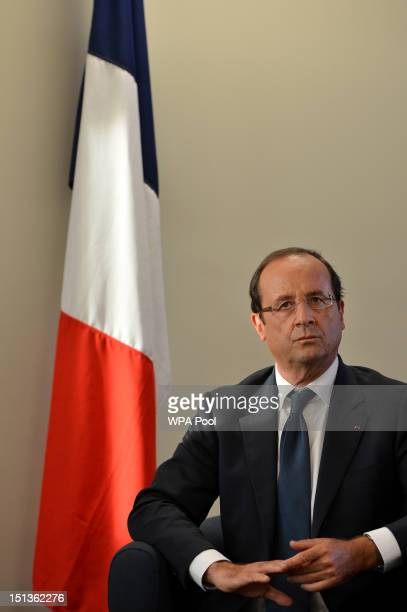 French President Francois Hollande attends a press conference on September 6 2012 in East London England Hollande vowed to find the killers who...