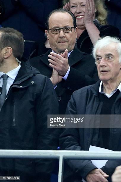 French President Francois Hollande attends the France v Germany International frendly football match at Stade de France on November 13, 2015 in...