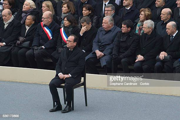 French President Francois Hollande attends with French Defence minister JeanYves Le Drian French Justice minister Christiane Taubira Saint Denis'...
