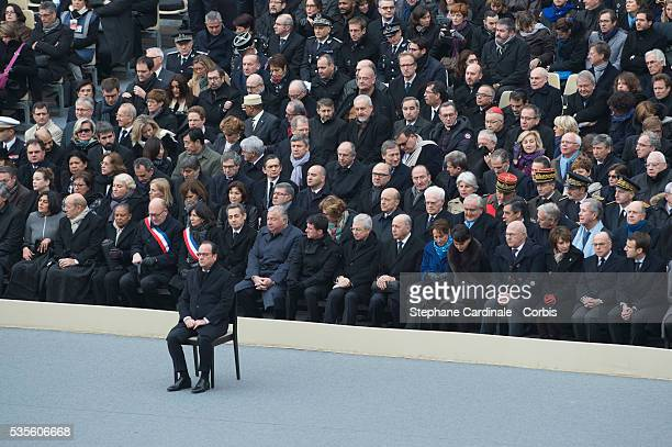 French President Francois Hollande attends with French Labour minister Myriam El Khomri French Defence minister JeanYves Le Drian French Justice...