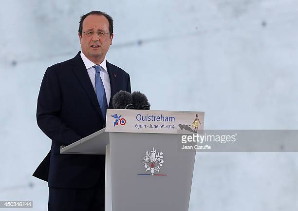 French President Francois Hollande delivers his speech during the International Ceremony at Sword Beach to commemorate the 70th anniversary of the...