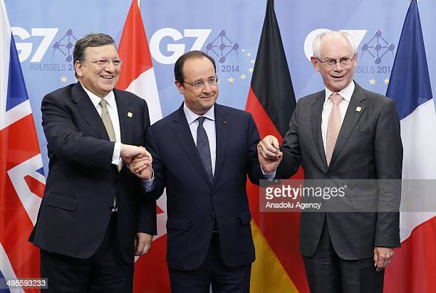 French President Francois Hollande EU Council President Herman Van Rompuy and EU Commission President Jose Manuel Barroso pose to media during the G7...