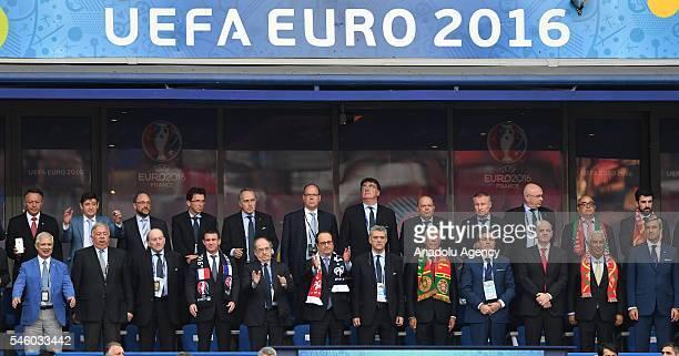 French President Francois Hollande, FIFA President Gianni Infantino, President of Portugese Football Federation Fernando Gomes, Portugal's President...