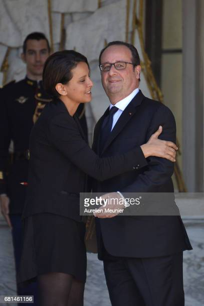 French President Francois Hollande formally says goodbye to Najat VallaudBelkacem French Minister of National Education Higher Education and Research...
