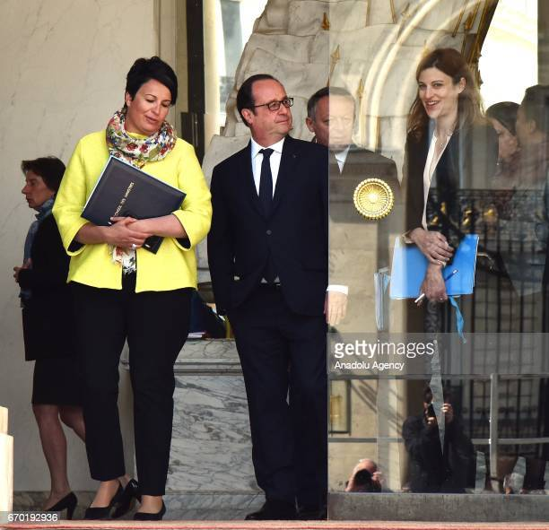 French President Francois Hollande French Junior Minister for Victims Aid Juliette Meadel and French Junior Minister for Local Authorities Estelle...