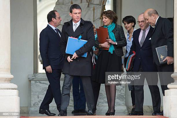 French President Francois Hollande French Prime Minister Manuel Valls Marisol Touraine French Minister of Social Affairs Najat VallaudBelkacem French...