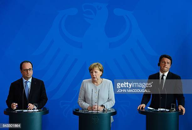 French President Francois Hollande German Chancellor Angela Merkel and Italy's Prime Minister Matteo Renzi address a press conference ahead of talks...